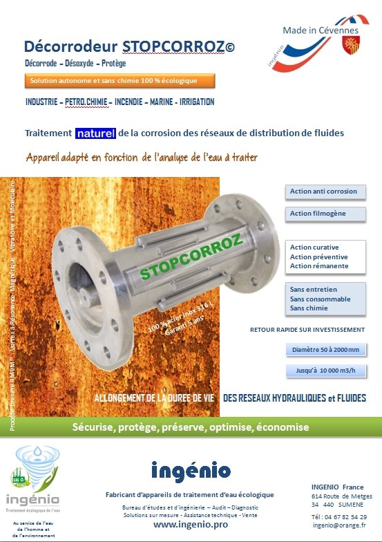 documentation decorrodeur anticorrosion ecologique STOP CORROZ ingenio fabriqué en France
