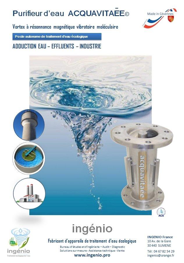 documentation dynamiseur eau vitaliseur STEP eaux usées ACQUAVITAEE ecologique made in france ingenio