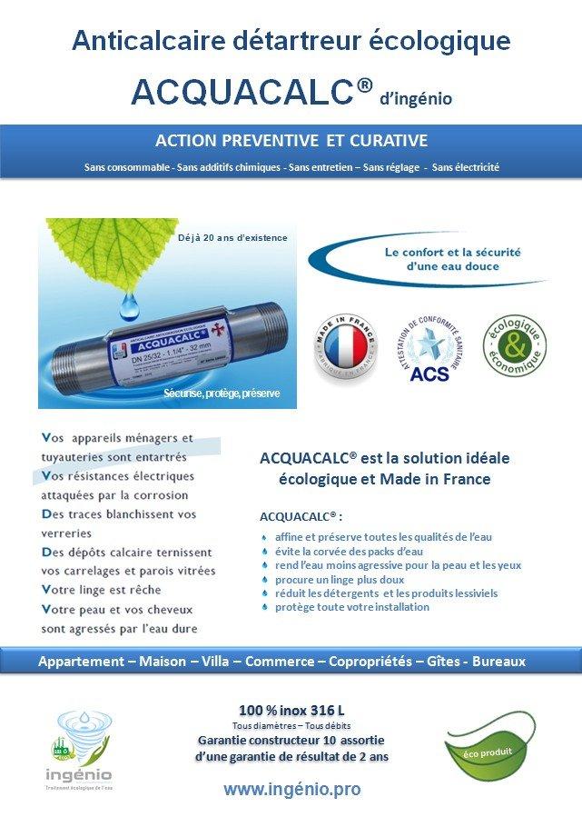 documentation anticalcaire detartrant anti-tartre ACQUACALC made in france ingenio